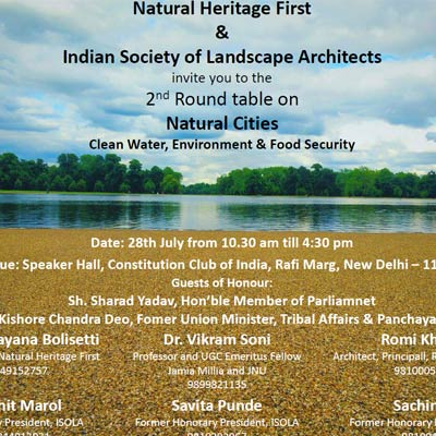 Natural Cities Clean Water, Environment & Food Security At Constitution Club of India, New Delhi